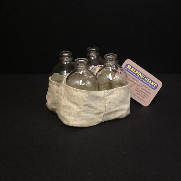 Coop Glass Vases with Linen Basket-COOP-Sleeping Giant