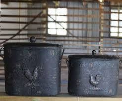 COOP Metal Distressed Rooster Buckets with Lids-COOP-Sleeping Giant