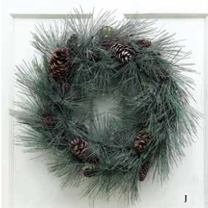 COOP Wreath Evergreen with Pine Cones-COOP-Sleeping Giant