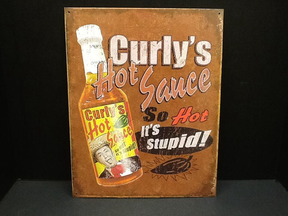 Curly's Hot Sauce Tin Wall Sign-Rainbow-Sleeping Giant