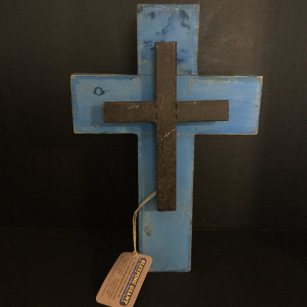 Deleon Blue Wooden Cross with Metal Cross on Front-DeLeon-Sleeping Giant