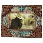 "DeLeon Frame 6""X4"" Wood/Leather/Turquoise Crosses-DeLeon-Sleeping Giant"