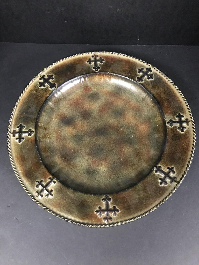 Hi End Metal Gold Round Platter W/ Crosses-Hiend-Sleeping Giant