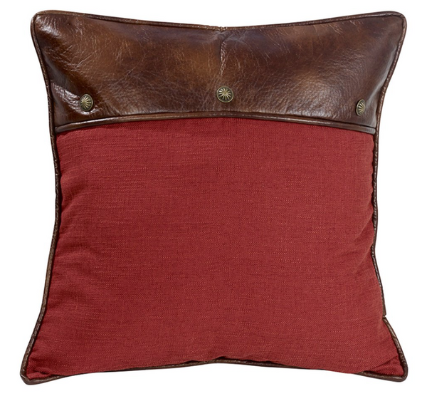 Hiend Red Euro Pillow W/ Faux Leather & Conhos-Hiend-Sleeping Giant