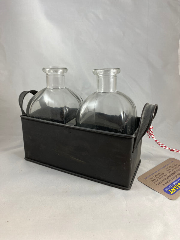 Parkhill Metal Black Bucket W/ Two Glass Jars-Parkhill-Sleeping Giant