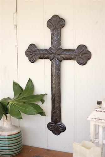 Kalalou Hand Hammered Recycled Metal-Sister Claras Cross-Kalalou-Sleeping Giant