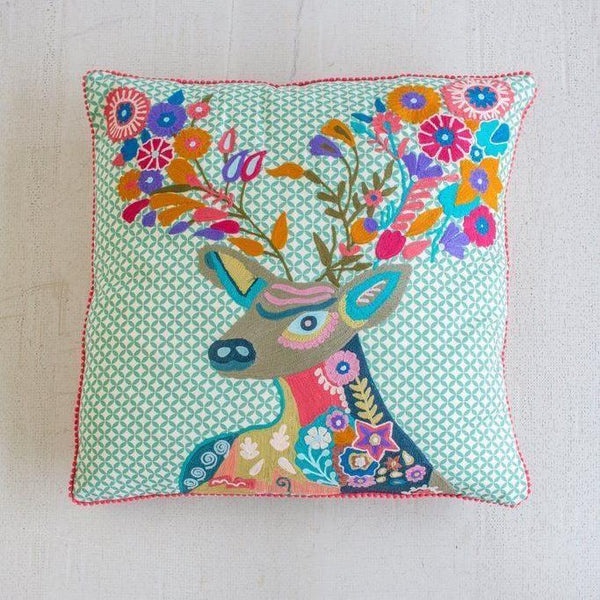 Kalalou Multi-Colored Deer Pillow-Kalalou-Sleeping Giant