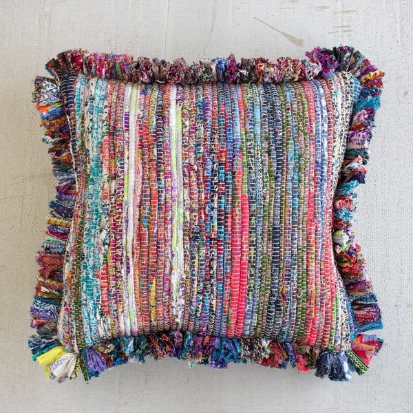 Kalalou Recycled Fabric Pillow with Fringe-Kalalou-Sleeping Giant