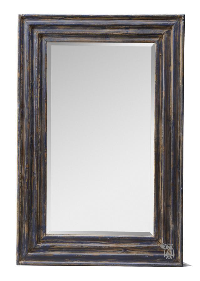 Kalalou Wooden Mirror Blue-Kalalou-Sleeping Giant