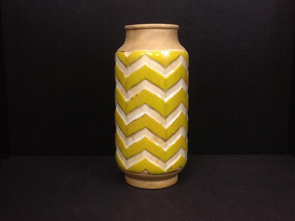 Kalalou Yellow and Cream Zig-Zag Vase-Kalalou-Sleeping Giant