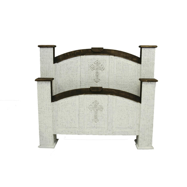 LMT Distressed Cross Mansion Bed-LMT-Sleeping Giant
