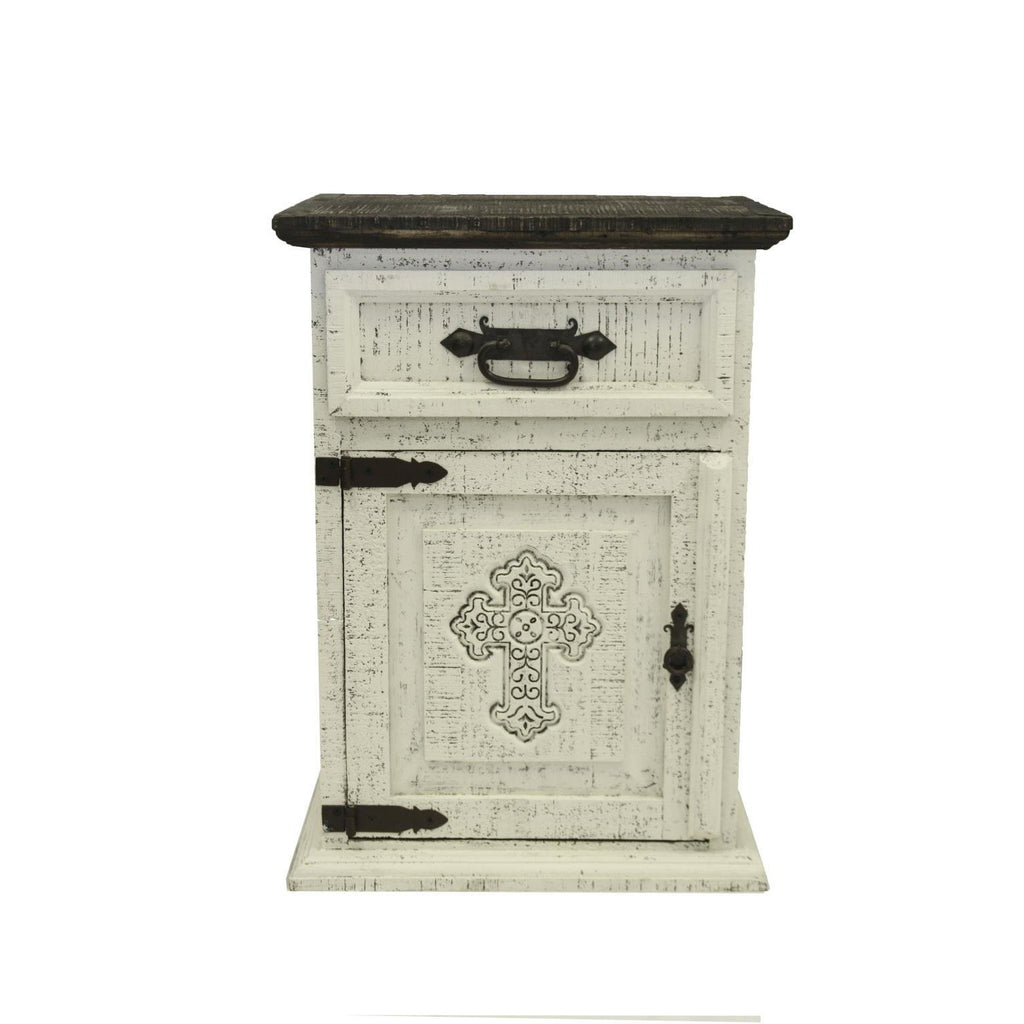 LMT Distressed Nightstand With Cross-LMT-Sleeping Giant