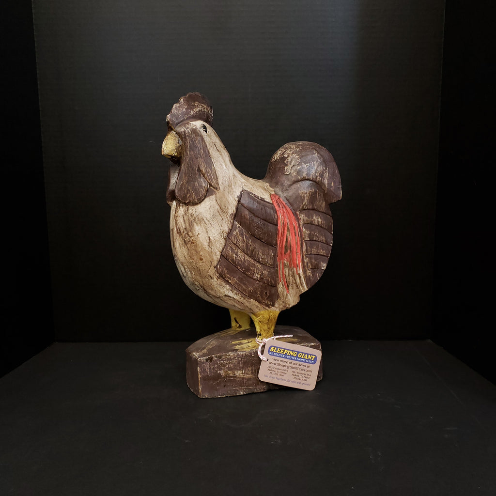 One of a Kind Brown/Cream Wood Carved Chicken-One of a Kind-Sleeping Giant