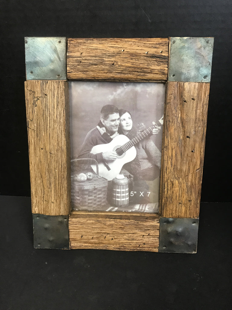 "One of a Kind Wood and Metal Photo Frame 5""x7""-One of a Kind-Sleeping Giant"