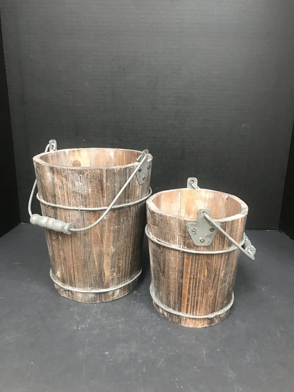 One of a Kind Wooden Brown Water Pail Planter-One of a Kind-Sleeping Giant