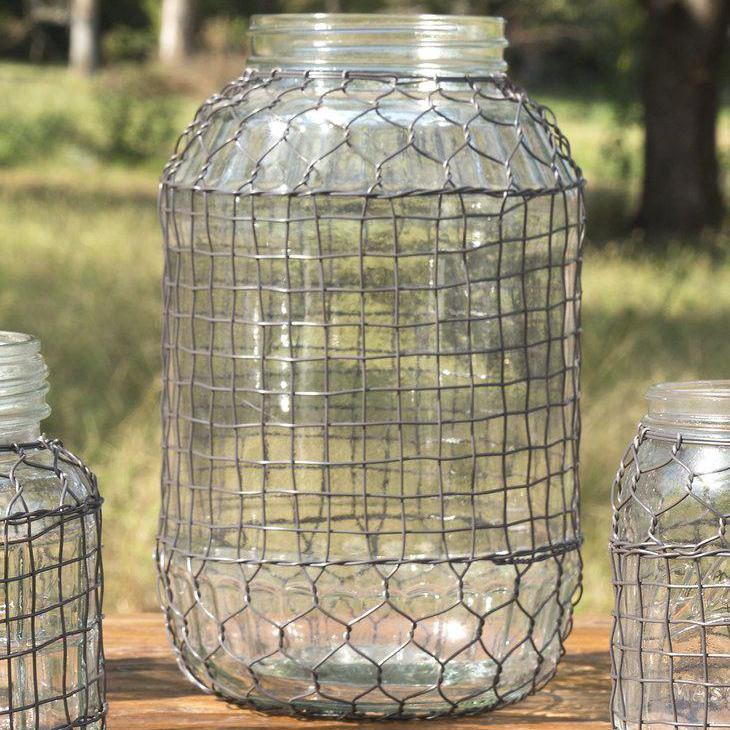 Parkhill Glass Jar with Chicken Wire Design-Parkhill-Sleeping Giant
