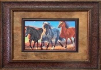 Picture King 3 Horse Sunset Painting Framed Art-Picture King-Sleeping Giant