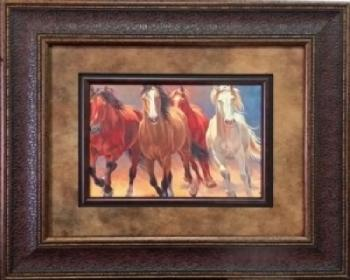 Picture King 4 Horse Sunset Painting Framed Art-Picture King-Sleeping Giant