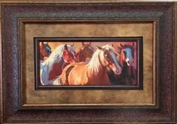 Picture King 5 Horse Sunset Painting Framed Art-Picture King-Sleeping Giant