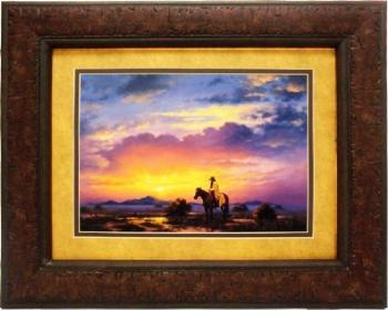 Picture King Cowbow and Horse Sunset Framed Art-Picture King-Sleeping Giant