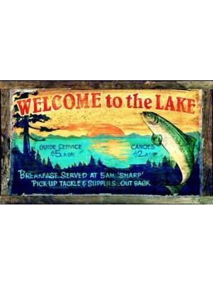 Red Horse Welcome to the Lake Cabin Sign-Red Horse-Sleeping Giant