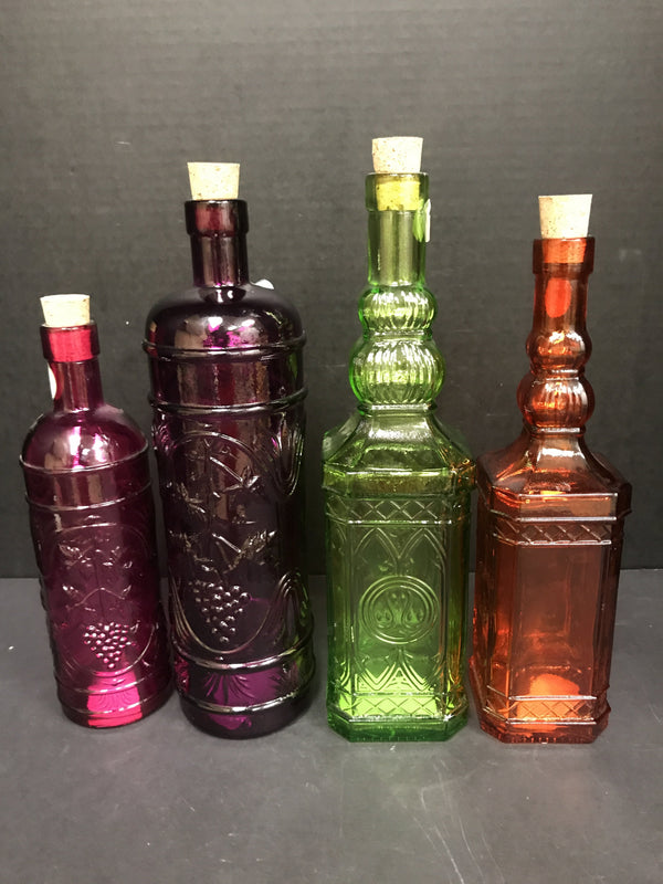 UMA Carved Colored Glass Bottles-UMA-Sleeping Giant