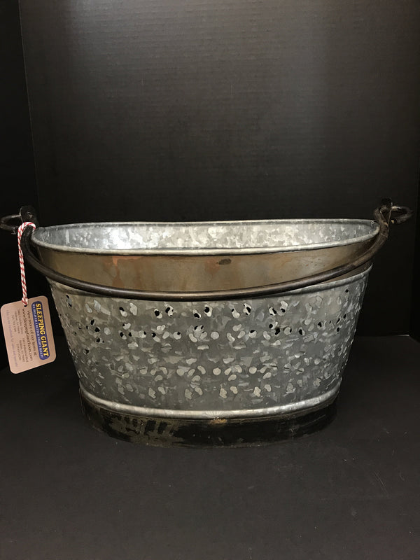 UMA Metal Galvanized Silver And Gold Basket W/ Handle-UMA-Sleeping Giant
