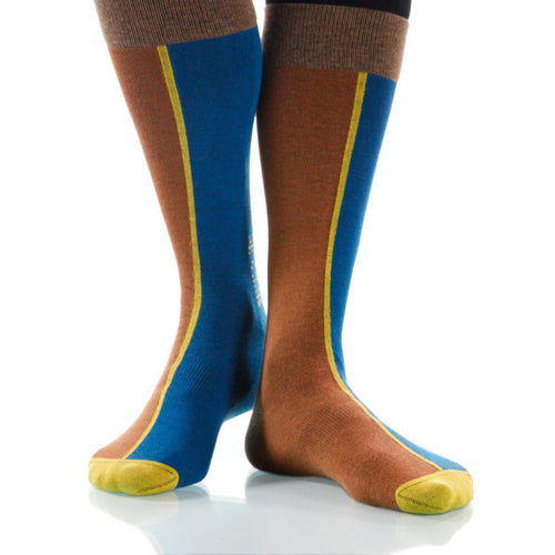 Tan Chiaroscuro Socks; Men's or Women's Supima Cotton Tan/Blue XOAB