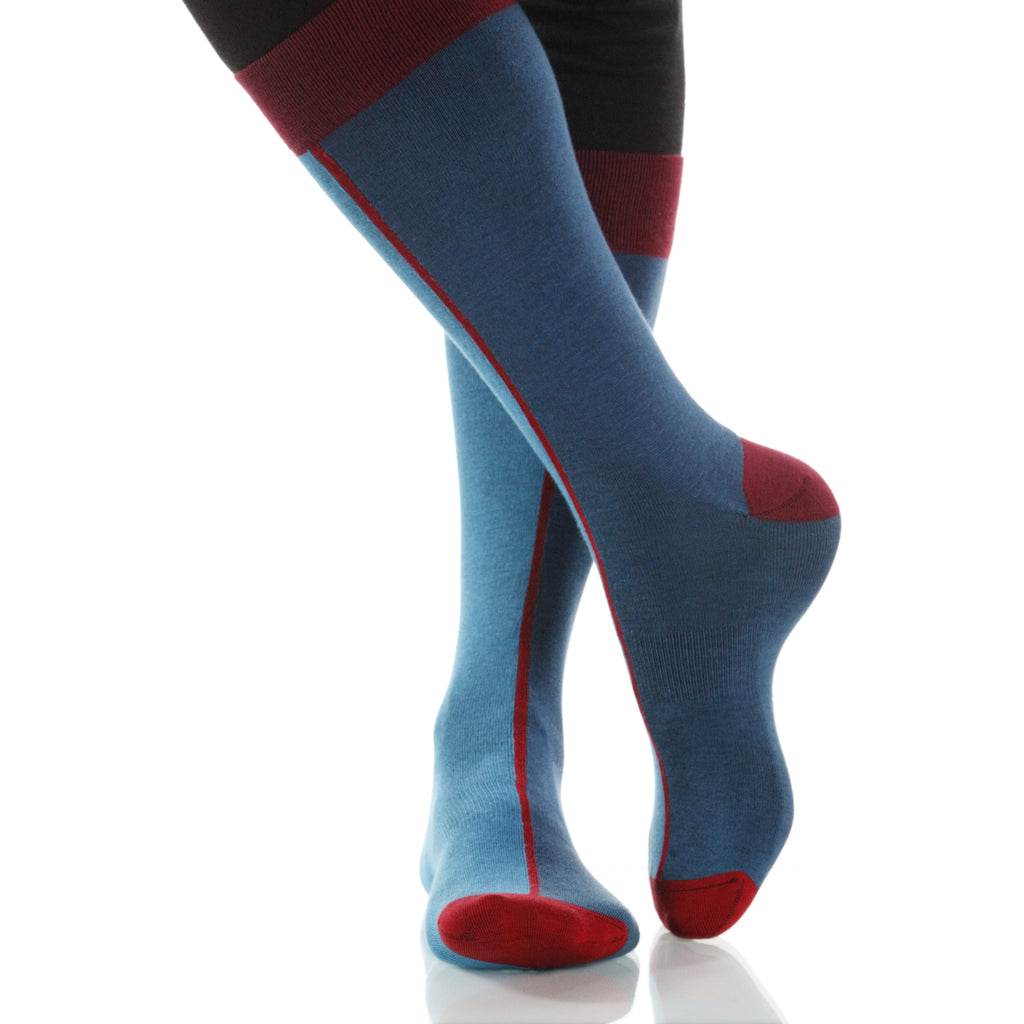 Teal Chiaroscuro Socks; Men's or Women's Supima Cotton Teal/Blue XOAB
