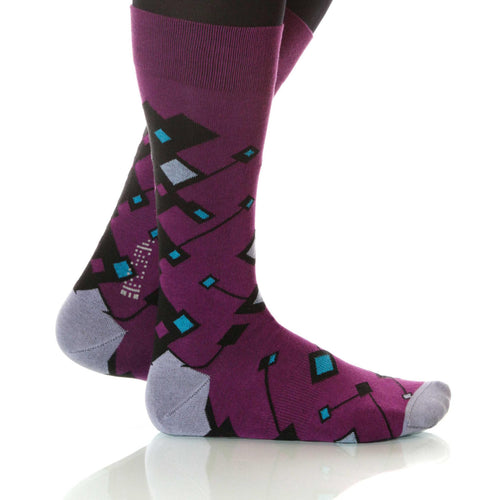 Violet Cufflink Socks; Men's or Women's Supima Cotton - Violet - XOAB