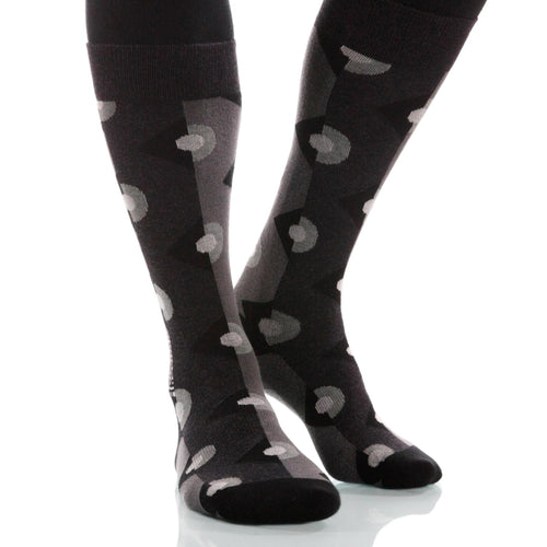 Black Deco Socks; Men's or Women's Supima Cotton Black/Gray/White XOAB