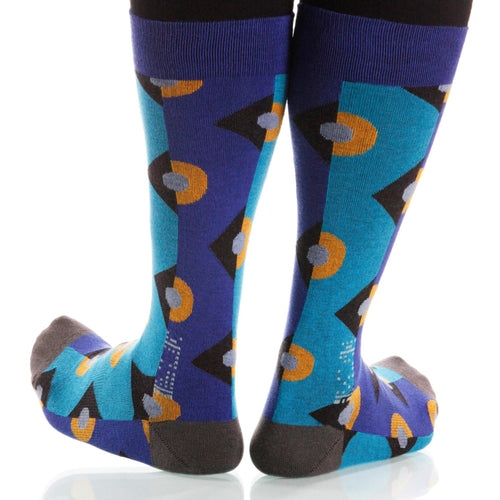 Blue Deco Socks; Men's or Women's Supima Cotton - Blue - XOAB