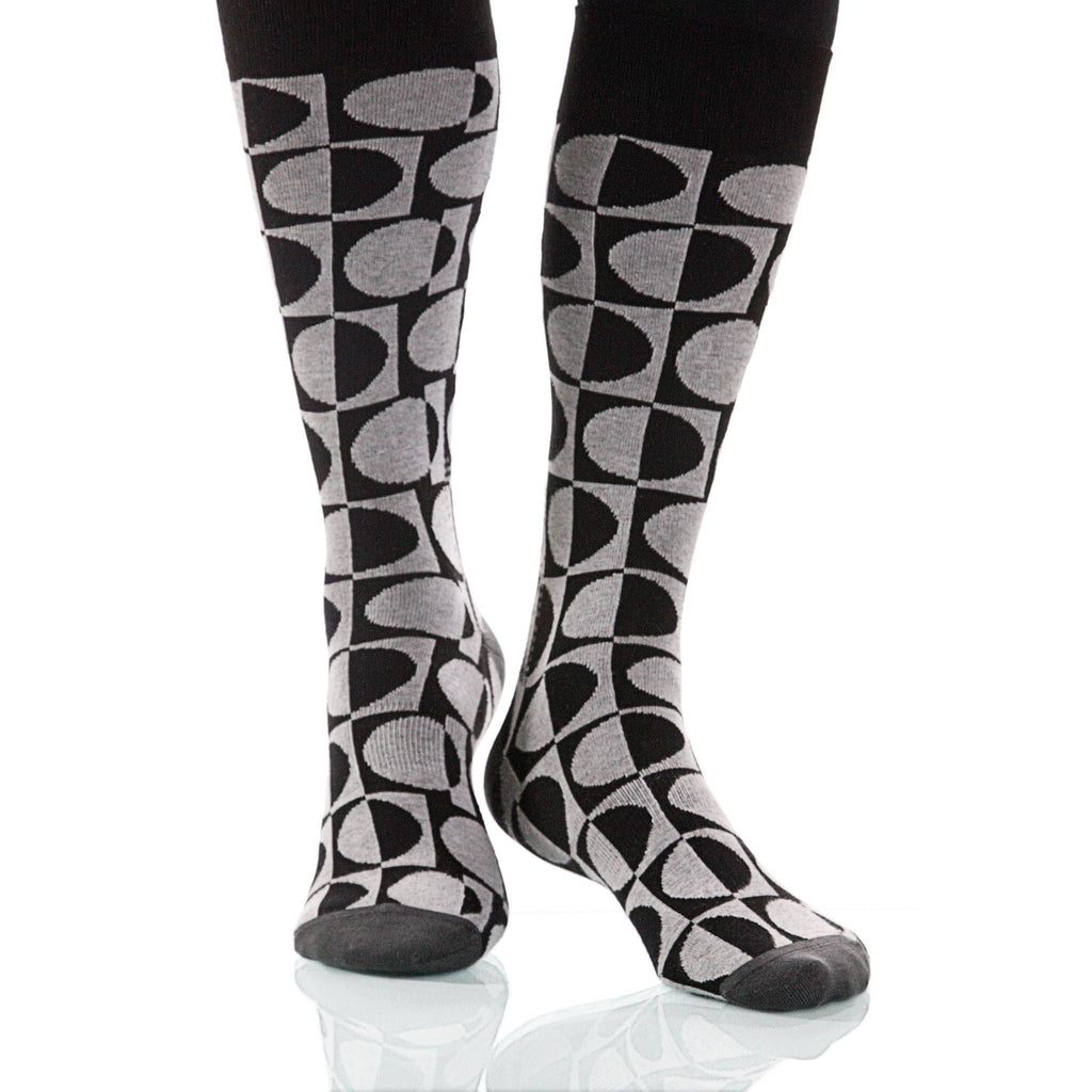 Black & White Eclipse Socks; Men's or Women's Supima Cotton XOAB