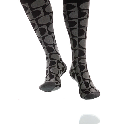 Charcoal Eclipse Socks; Men's or Women's Supima Cotton Gray/Black XOAB