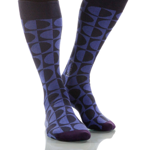 Indigo Eclipse Socks; Men's or Women's Supima Cotton Blue/Black XOAB