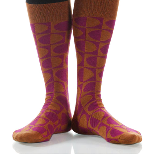 Rose Eclipse Socks; Men's or Women's Supima Cotton Orange/Violet XOAB