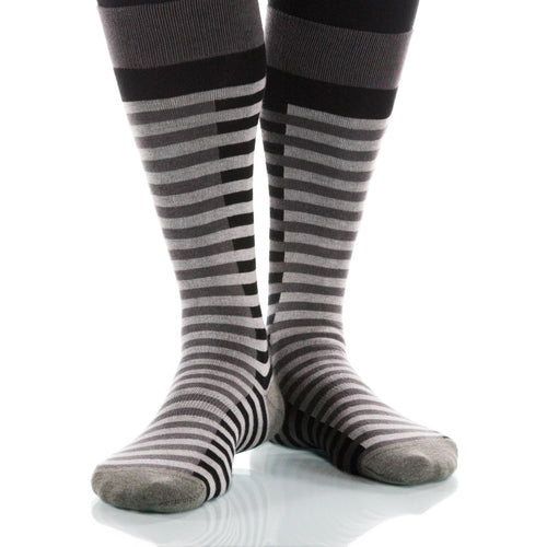 Gray Lattice Socks; Men's or Women's Supima Cotton Gray/Black XOAB