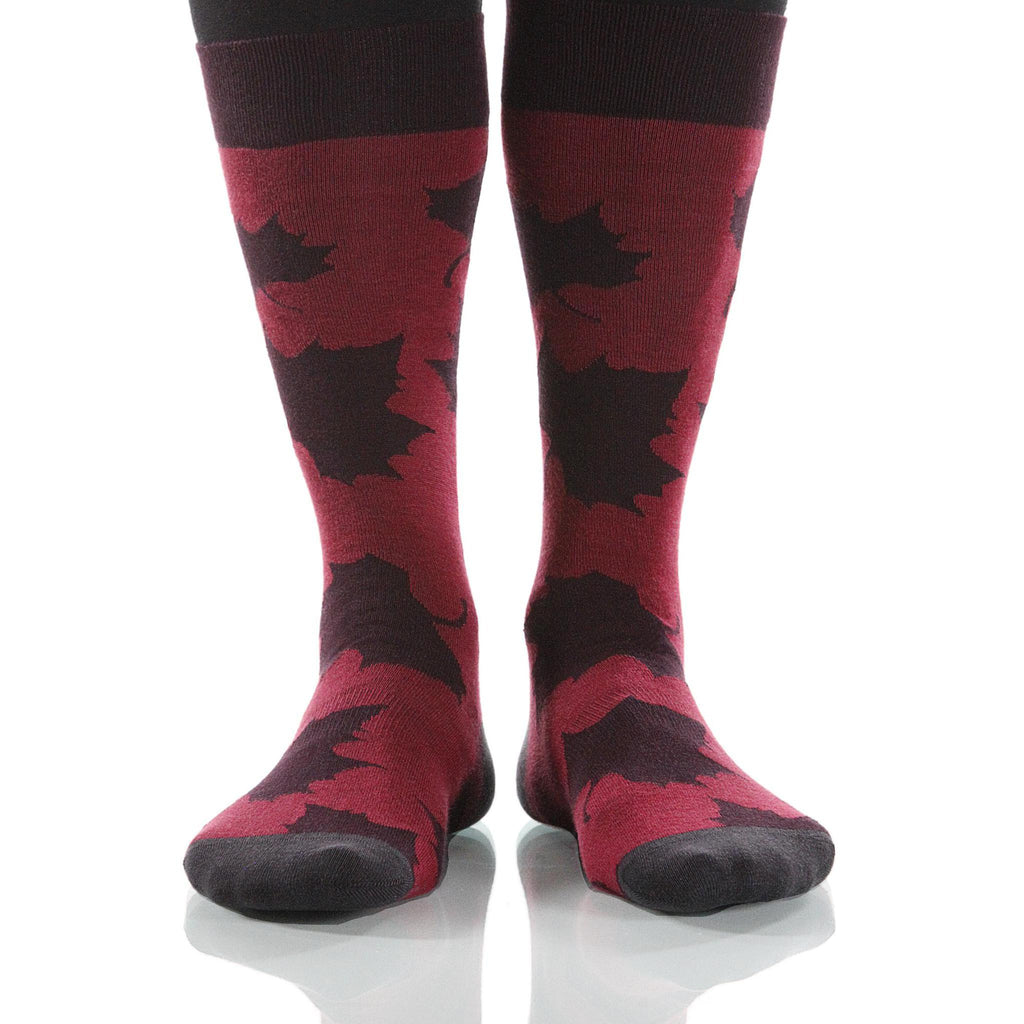 Burgundy Maple Socks; Men's or Women's Supima Cotton - Red - XOAB