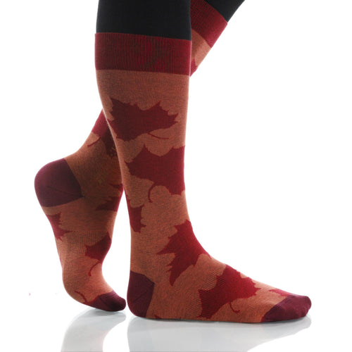 Pumpkin Maple Socks; Men's or Women's Supima Cotton Orange/Red XOAB