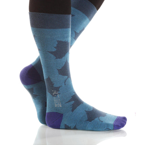 Teal Maple Socks; Men's or Women's Supima Cotton - Teal/Blue - XOAB