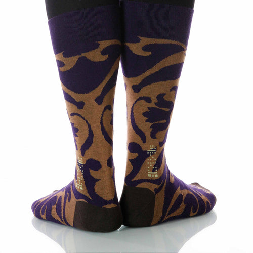 Aubergine Soleil Socks; Men's or Women's Supima Cotton Violet/Tan XOAB