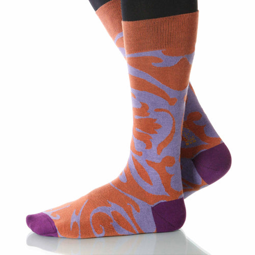 Begonia Soleil Socks; Men's or Women's Supima Cotton Orange XOAB