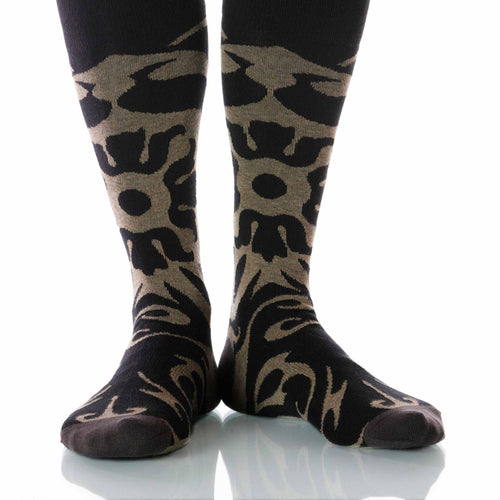 Mocha Soleil Socks; Men's or Women's Supima Cotton - Tan/Black - XOAB