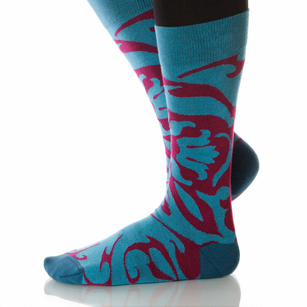 Peacock Soleil Socks; Men's or Women's Supima Cotton - Red/Teal - XOAB