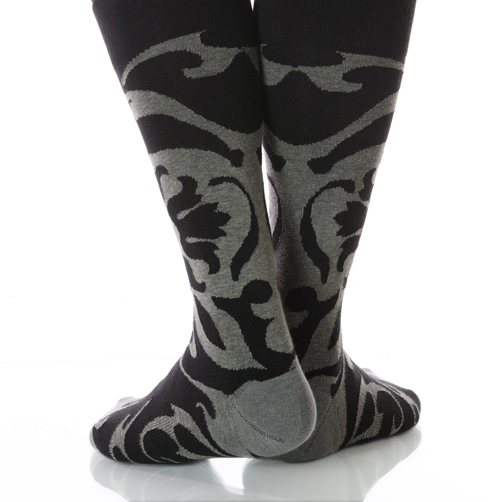 Smoke Soleil Socks; Men's or Women's Supima Cotton - Gray/Black - XOAB
