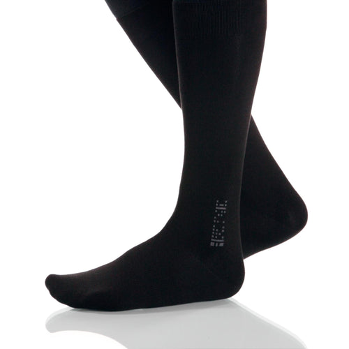 Black Solid Socks; Men's or Women's Merino Wool - Black - XOAB