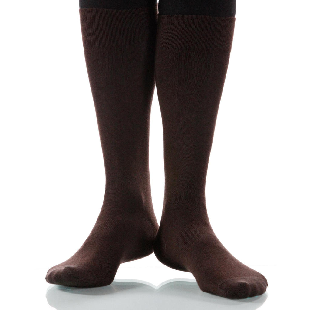 Cacao Solid Socks; Men's or Women's Merino Wool - Brown - XOAB