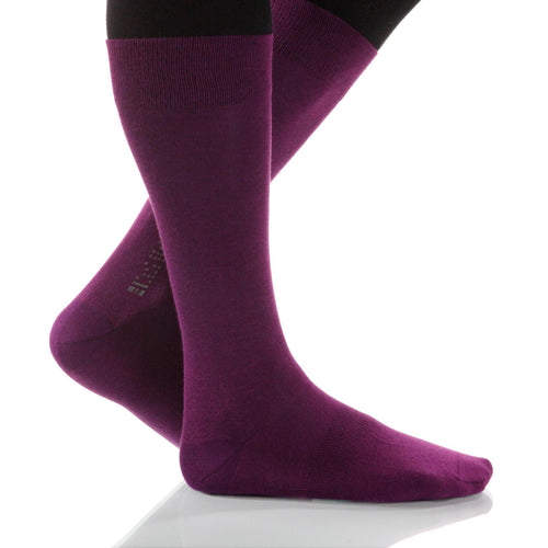 Heliotrope Solid Socks; Men's or Women's Merino Wool - Violet - XOAB