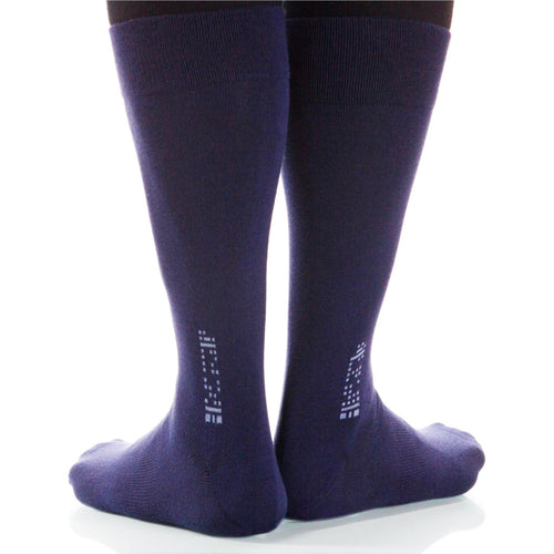Navy Solid Socks; Men's or Women's Merino Wool - Blue - XOAB