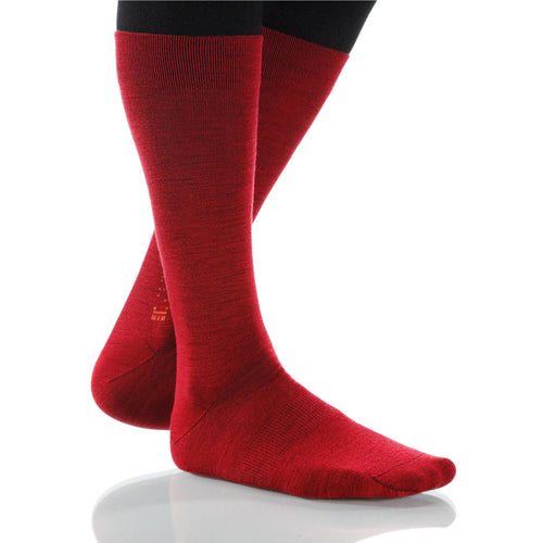 Scarlet Solid Socks; Men's or Women's Merino Wool - Red - XOAB